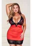 Red 2 Pc Lace Chemise G-string-queen